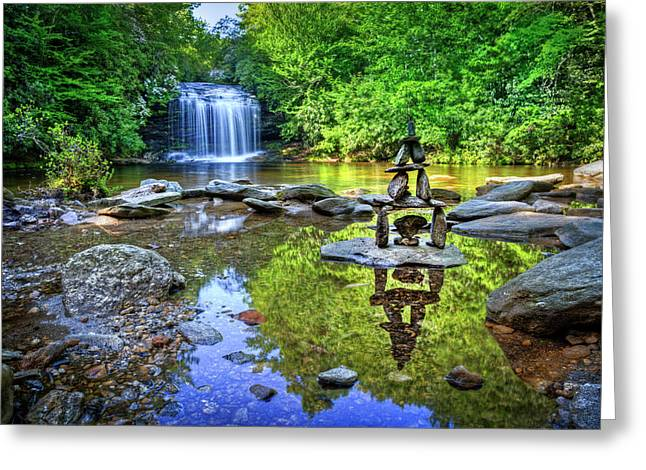 Waterfall Cairn At Schoolhouse Falls Greeting Card