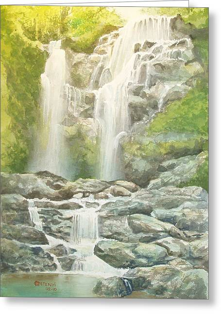 Waterfall Greeting Card by Charles Hetenyi