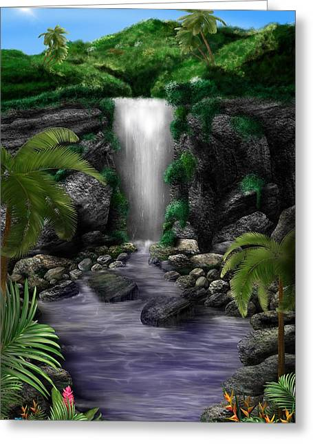 Greeting Card featuring the digital art Waterfall Creek by Mark Taylor