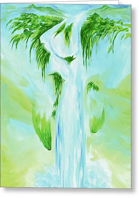 Waterfall Greeting Card by David Junod
