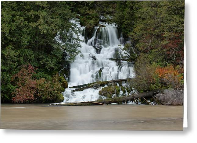 Waterfall Flowing Into The Klickatat River Greeting Card by Jeff Swan