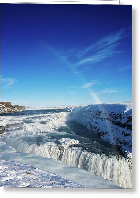 Greeting Card featuring the photograph Waterfall Gullfoss In Winter Iceland Europe by Matthias Hauser