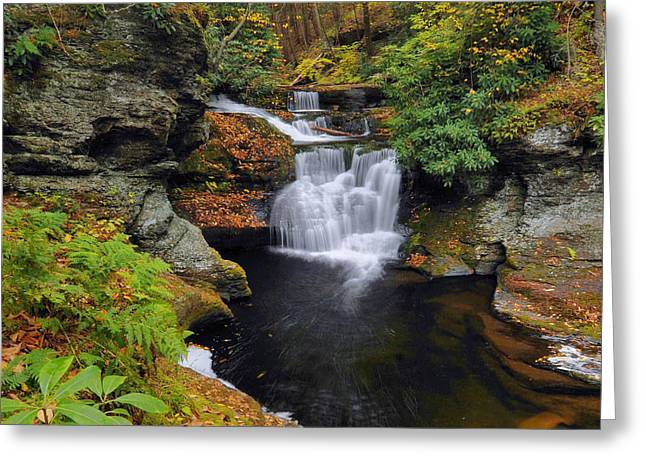 Waterfall In Autumn Greeting Card by Stephen  Vecchiotti