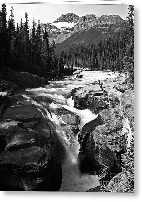 Greeting Card featuring the photograph Waterfall In Banff National Park Bw by RicardMN Photography