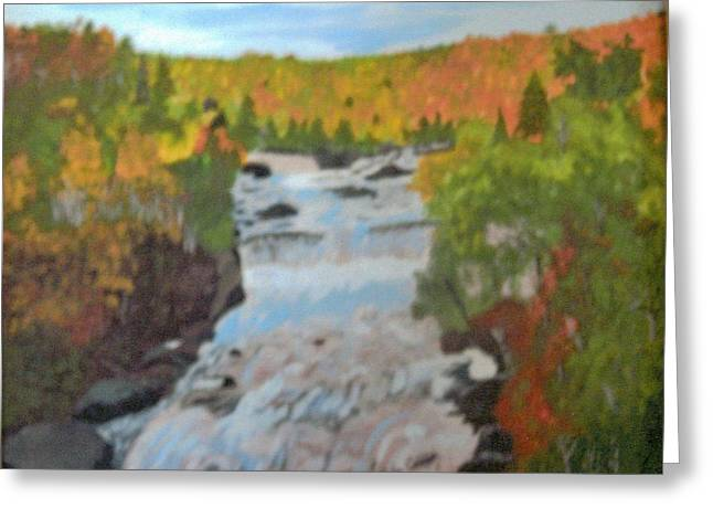 Waterfall In Fall Greeting Card by Juanita Couch