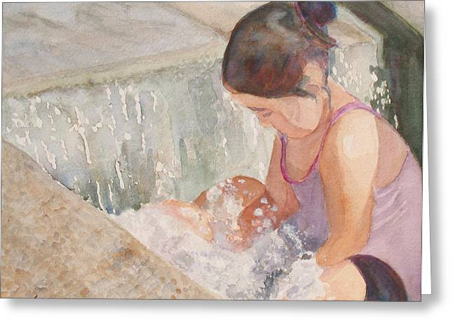 Waterfall In Her Lap Greeting Card by Jenny Armitage