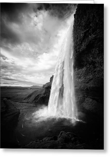 Greeting Card featuring the photograph Waterfall In Iceland Black And White by Matthias Hauser