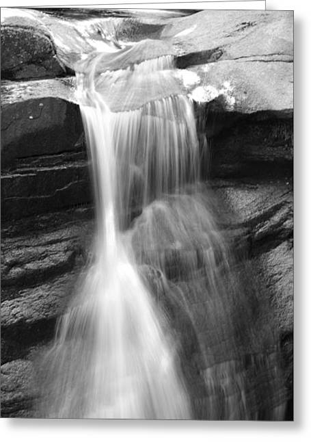 Waterfall In Nh Black And White Greeting Card