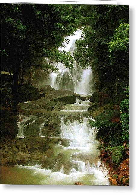 Waterfall In Thailand Greeting Card by Pascal VERSAVEL