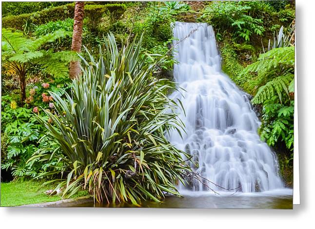 Waterfall In The Island Greeting Card by Alexandre Martins