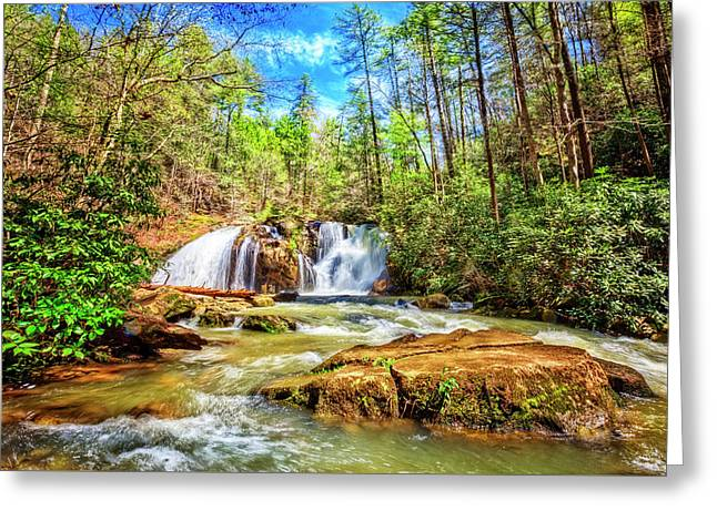 Waterfall In The Smoky Mountains Greeting Card by Debra and Dave Vanderlaan