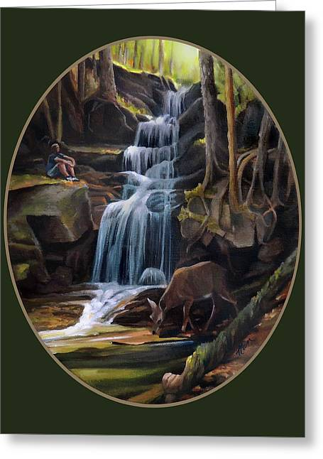 Waterfall In The White Mountains Greeting Card