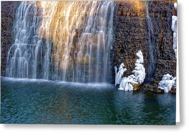 Waterfall In Winter Greeting Card
