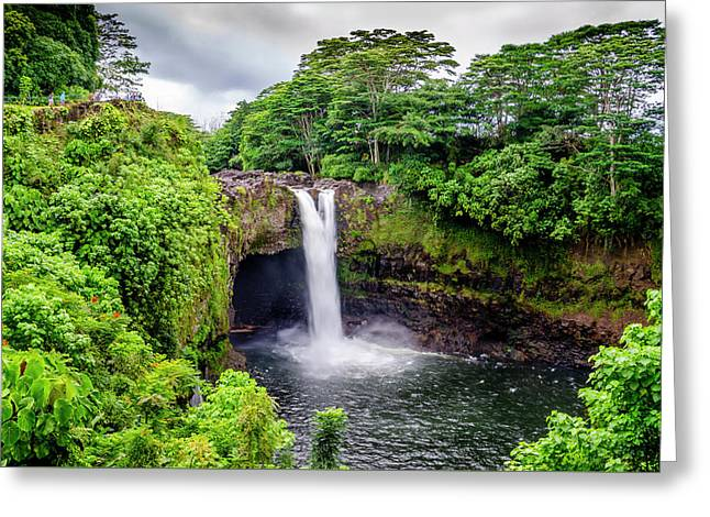 Waterfall Into The Valley Greeting Card