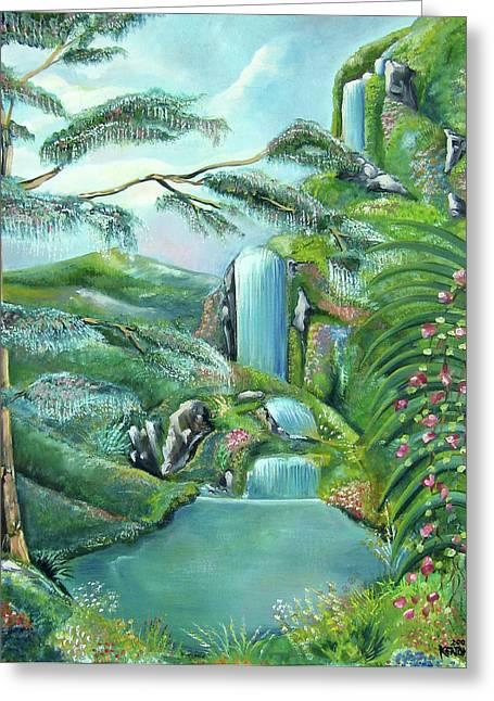 Waterfall Greeting Card by John Keaton