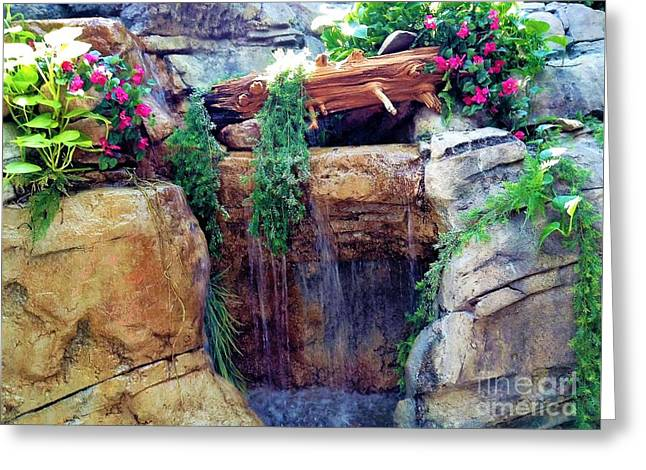 Waterfall Landscape 4 Greeting Card by Gina Sullivan
