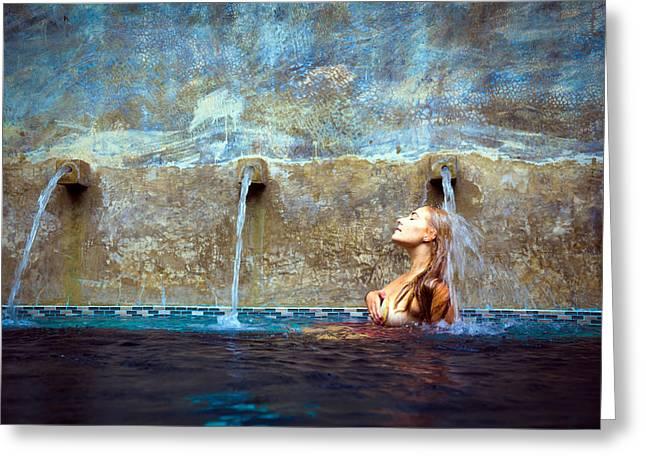 Waterfall Mermaid Greeting Card by Karl Alexander