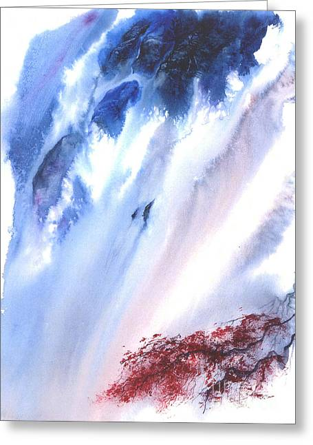 Waterfall Greeting Card by Mui-Joo Wee