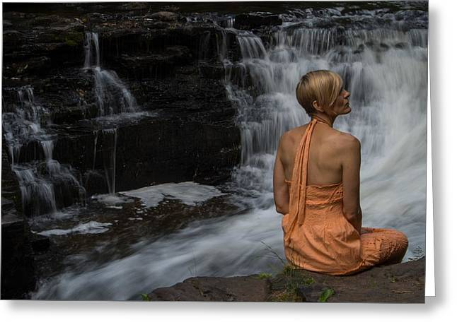 Waterfall Muse Greeting Card by Tim Beebe
