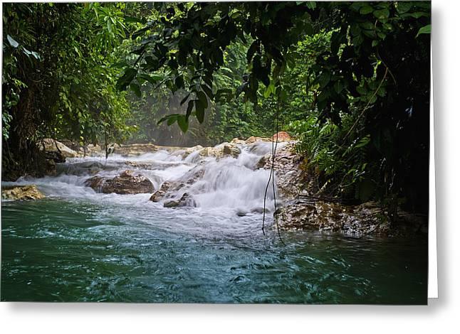Waterfall Near Kimbe  West New Britain Greeting Card