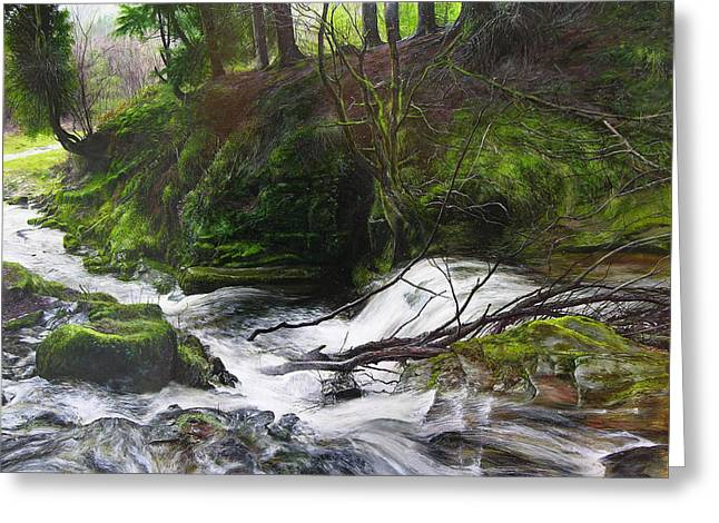 Waterfall Near Tallybont-on-usk Wales Greeting Card by Harry Robertson