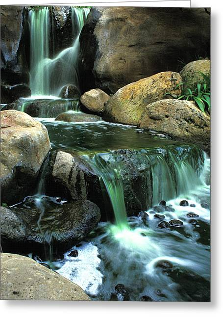 Waterfall On Maui Greeting Card by Carl Purcell