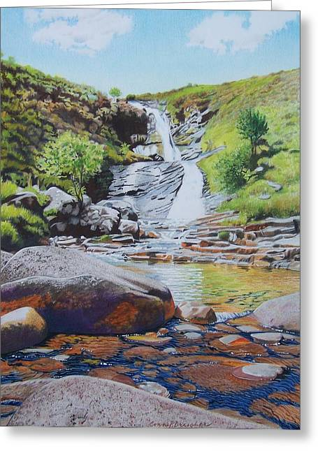 Greeting Card featuring the mixed media Waterfall On Skye 2 by Constance Drescher
