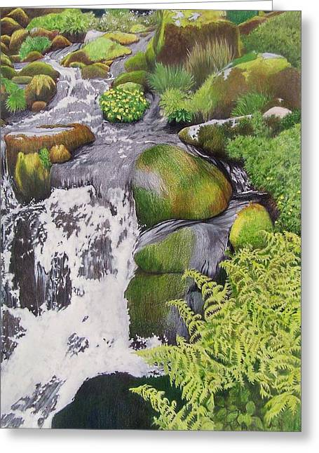 Greeting Card featuring the mixed media Waterfall On Skye by Constance Drescher