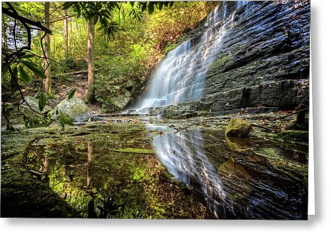 Waterfall Reflections Greeting Card by Debra and Dave Vanderlaan