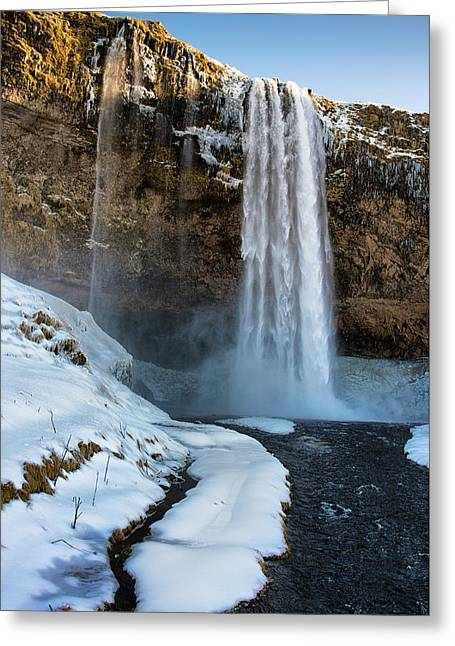 Greeting Card featuring the photograph Waterfall Seljalandsfoss Iceland In Winter by Matthias Hauser