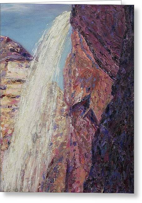 Waterfall Greeting Card by Suzanne  Marie Leclair