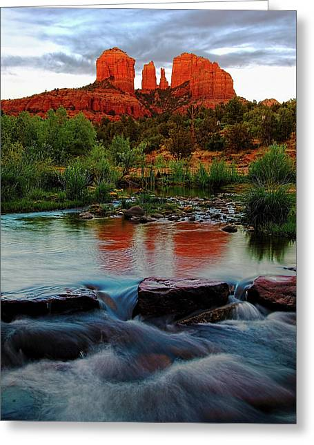 Waterfall Under Cathedral Rock Greeting Card