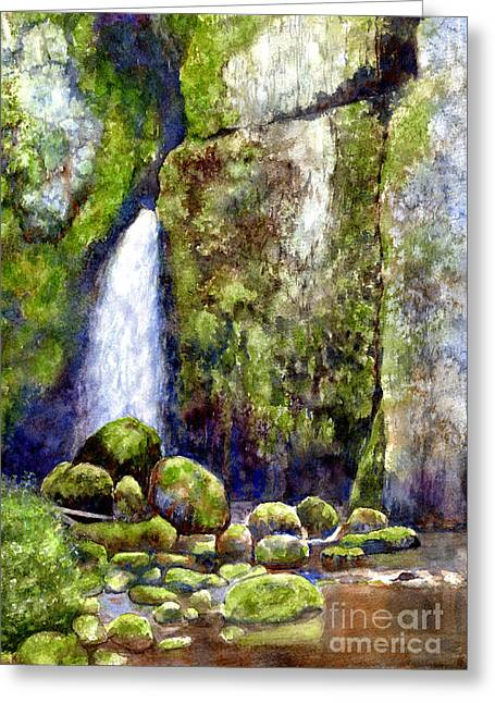 Waterfall With Mossy Rocks Greeting Card