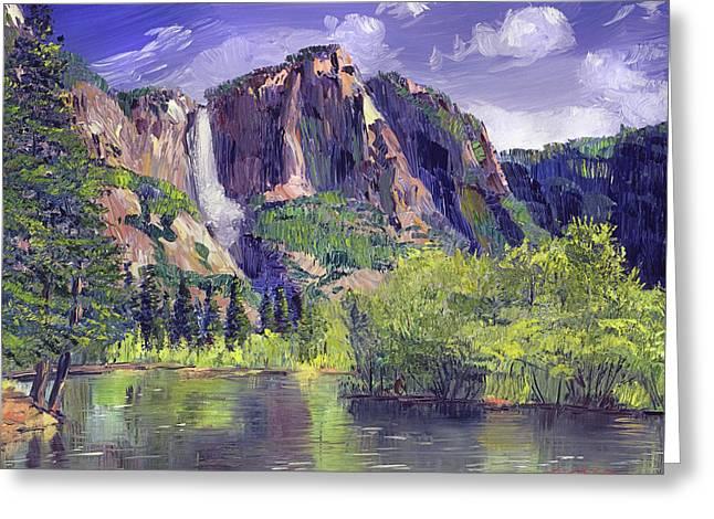 Waterfall Yosemite Greeting Card by David Lloyd Glover