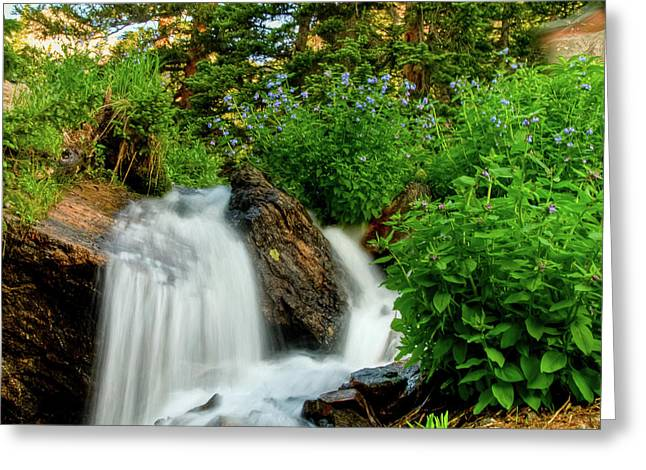 Waterfalls Above Dream Lake Greeting Card
