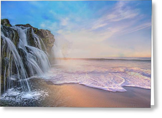 Waterfalls Into The Ocean Greeting Card