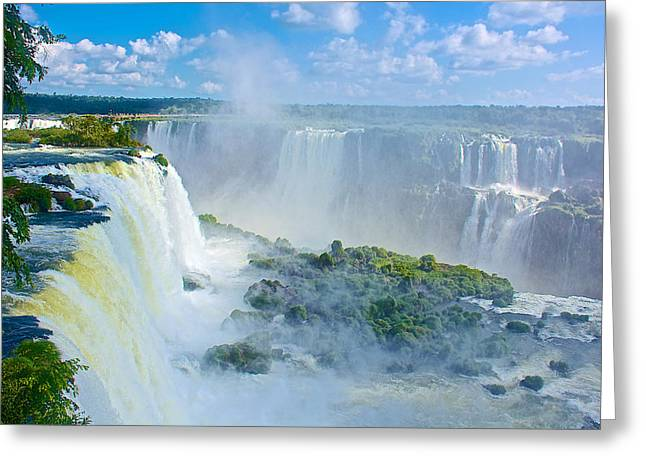 Waterfalls On Both Sides Of The Devil's Throat In Iguazu Falls National Park-brazil Greeting Card