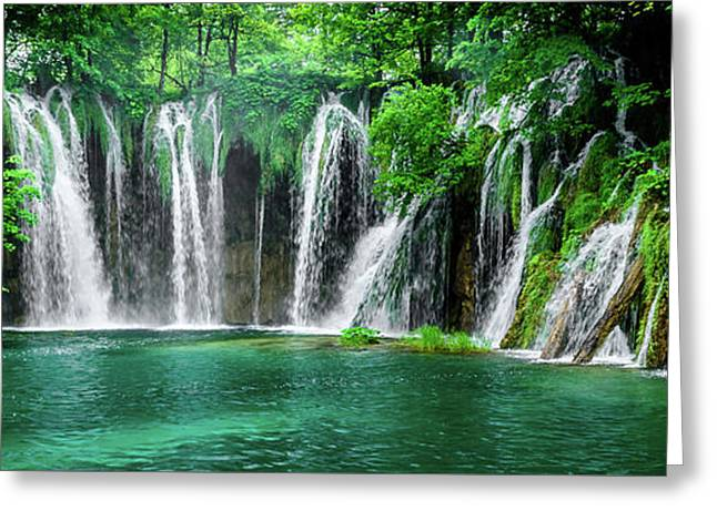 Waterfalls Panorama - Plitvice Lakes National Park Croatia Greeting Card