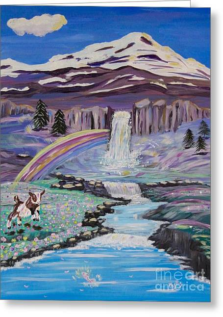 Waterfalls Rainbows And A Silly Goat Greeting Card by Phyllis Kaltenbach