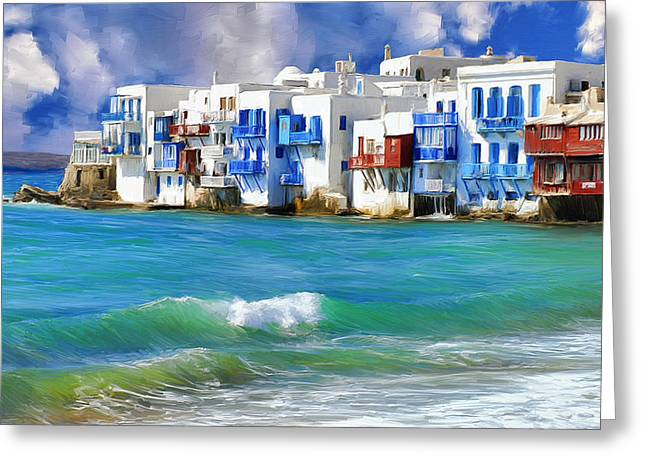 Waterfront At Mykonos Greeting Card by Dominic Piperata