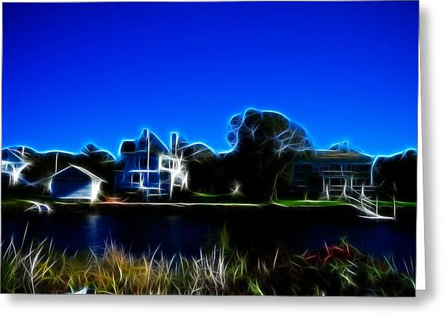 Waterfront Homes Mystic Seaport Greeting Card by Lawrence Christopher