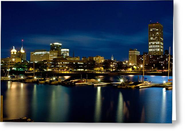 Waterfront Lights Greeting Card by Don Nieman