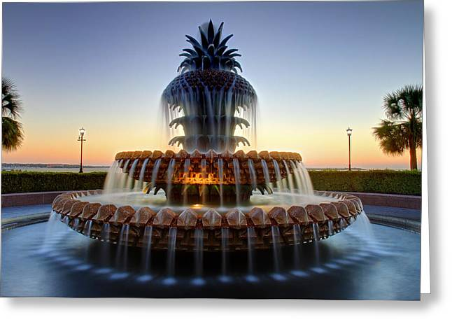 Waterfront Park Pineapple Fountain In Charleston Sc Greeting Card by Pierre Leclerc Photography