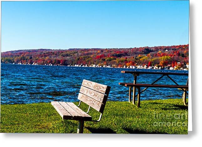 Waterfront Seating Greeting Card by William Norton