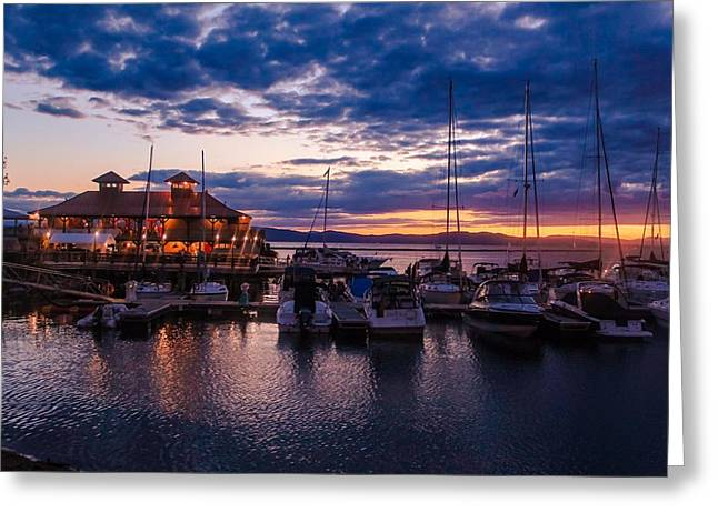 Waterfront Summer Sunset Greeting Card