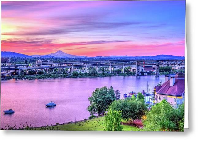 Waterfront Sunrise - Portland Oregon Greeting Card