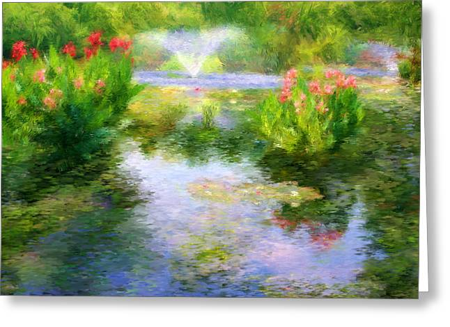 Watergarden In Monet Style Greeting Card by Crystal Garner
