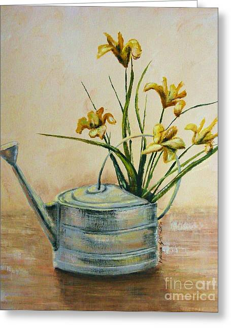 Watering Can Greeting Card by Marilyn Smith