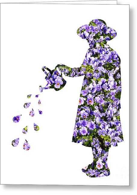 Watering Flowers Greeting Card by Amanda Elwell