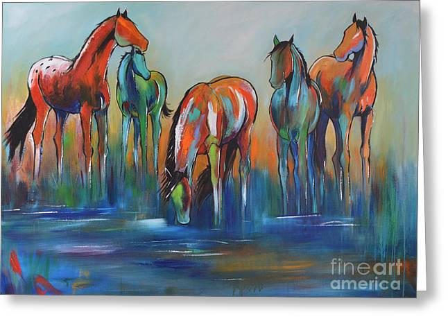 Greeting Card featuring the painting Watering Hole 5 by Cher Devereaux
